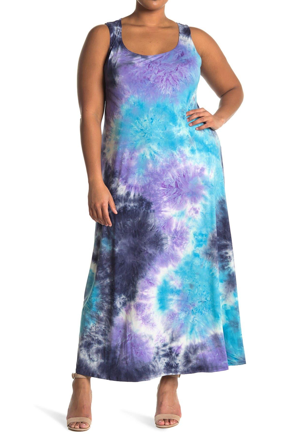 Image of TASH + SOPHIE Sleeveless Tie Dye Maxi Dress