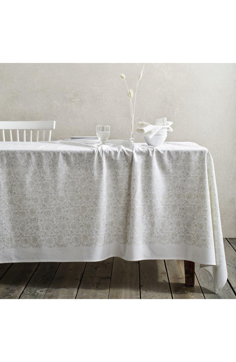 THE WHITE COMPANY Block Print Cotton Tablecloth, Main, color, WHITE/ NATURAL