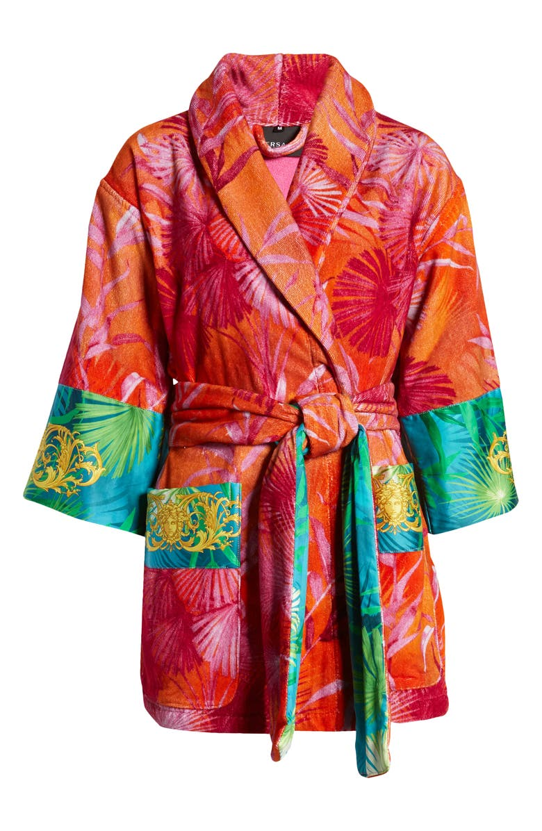 VERSACE Jungle Print Short Robe, Main, color, RED/ PRINT