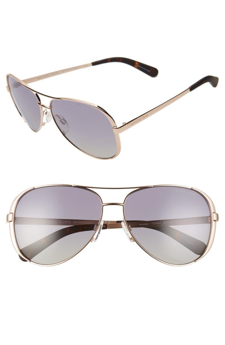 MICHAEL KORS Collection 59mm Polarized Aviator Sunglasses, Main, color, 717