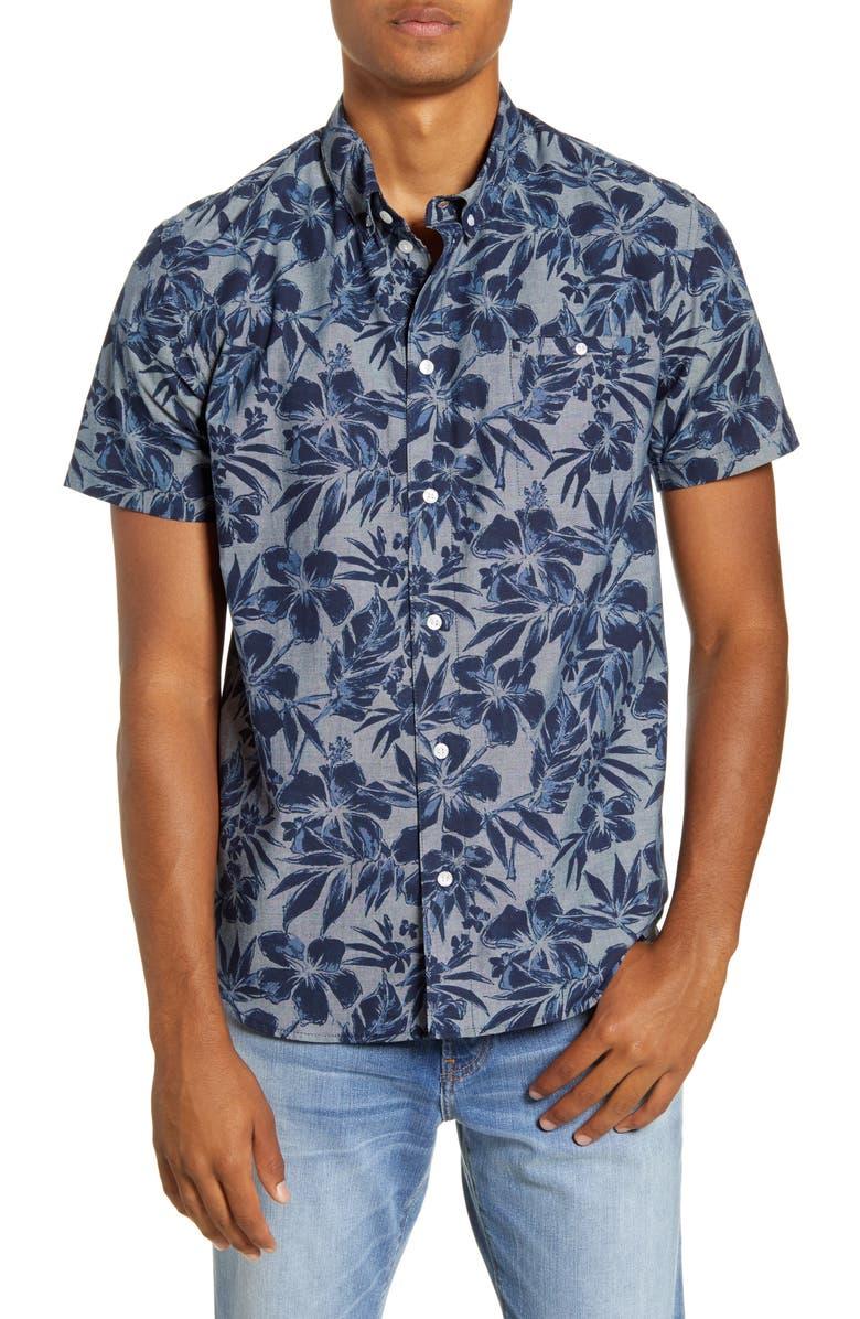 DOG THREADS Cool Breeze BBQ Short Sleeve Button-Down Shirt, Main, color, DENIM BLUE / NAVY