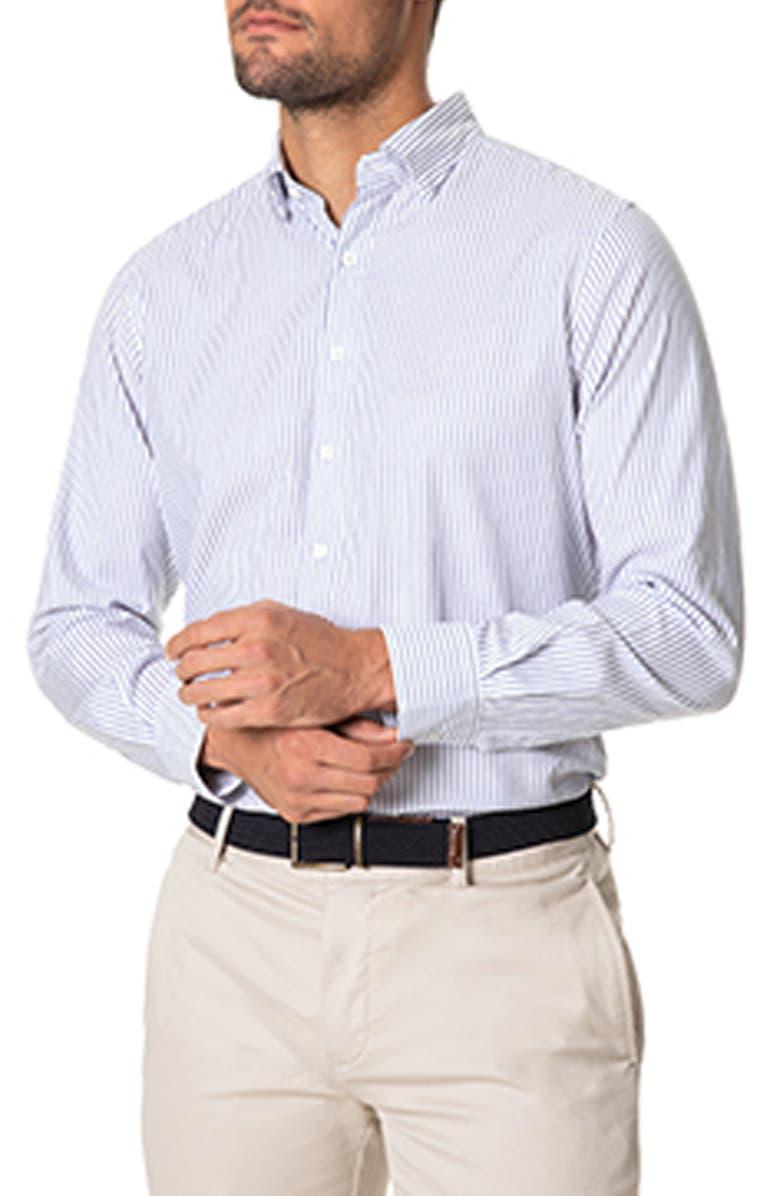 RODD & GUNN Colpani Sports Fit Pinstripe Button-Up Shirt, Main, color, SNOW
