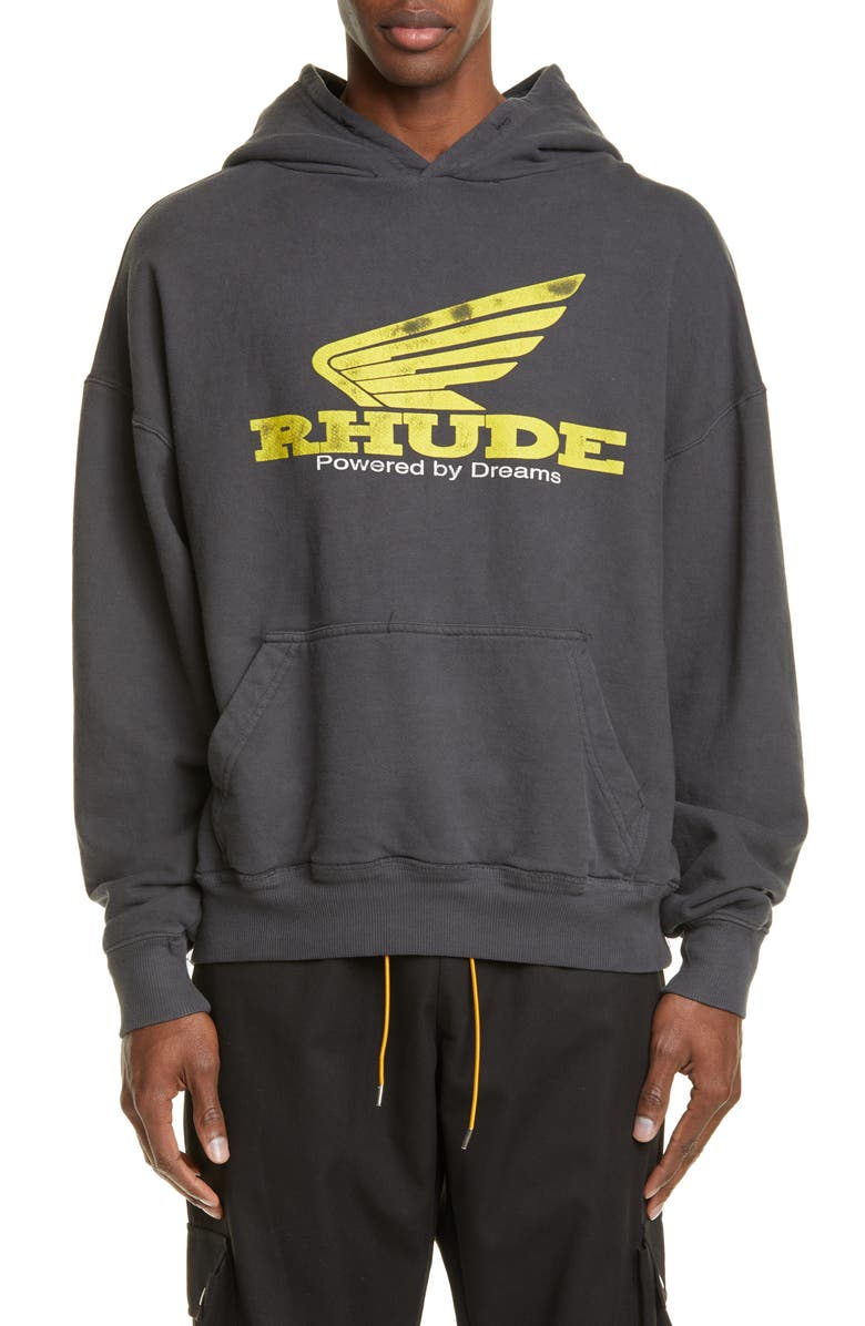 RHUDE Yellow Rhonda Hooded Sweatshirt, Main, color, BLACK