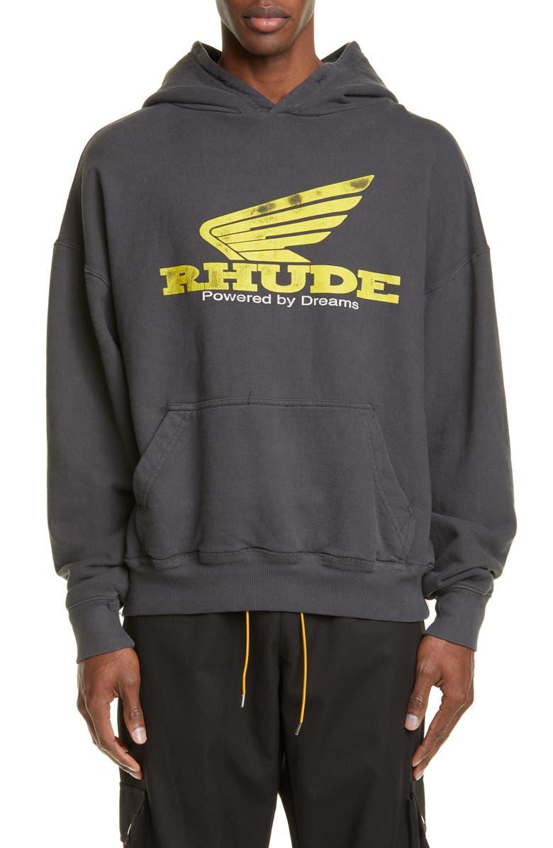 RHUDE Yellow Rhonda Hooded Sweatshirt, Main, color, 001