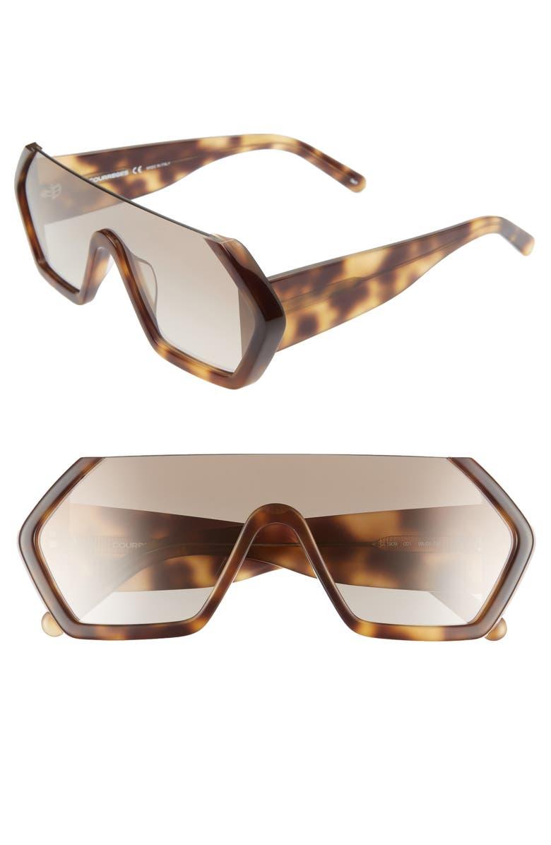 COURREGES 99mm Oversize Shield Sunglasses, Main, color, AVANA/ GREY