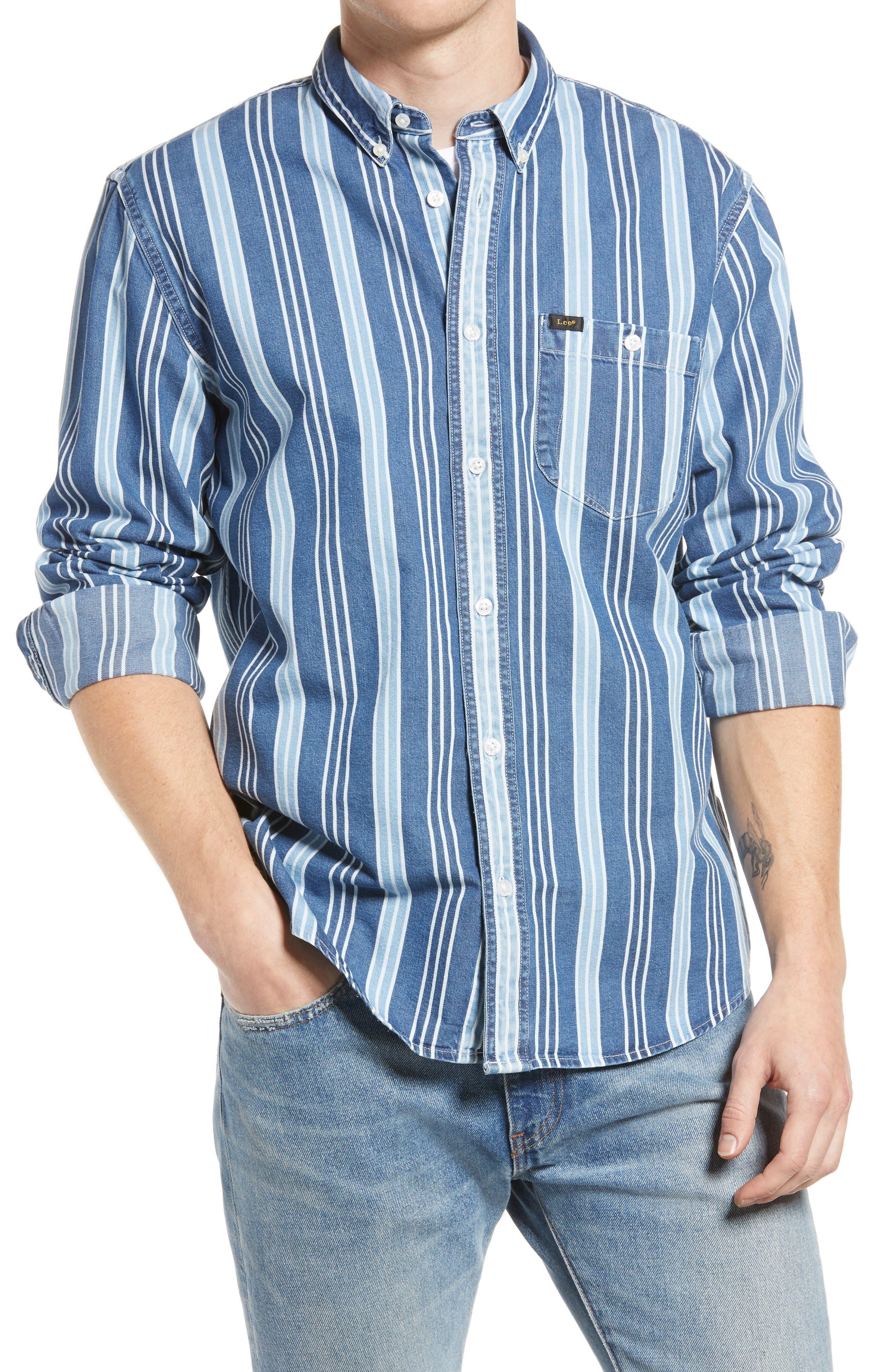 Regular Fit Riveted Stripe Button-Down Shirt