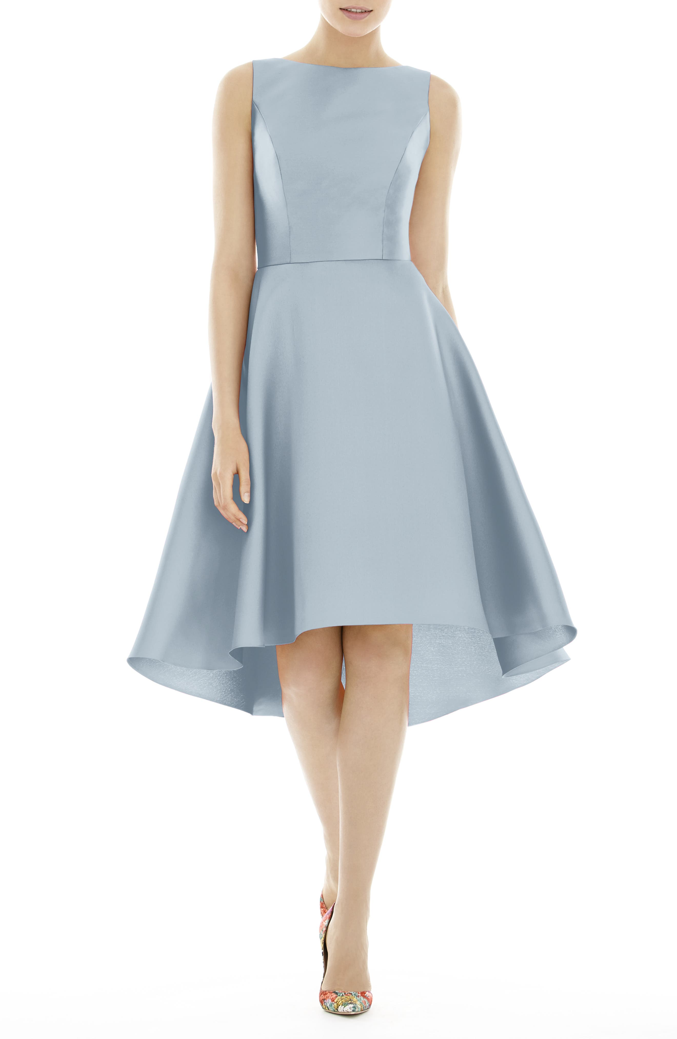 Alfred Sung High/low Satin Twill Cocktail Dress, Blue