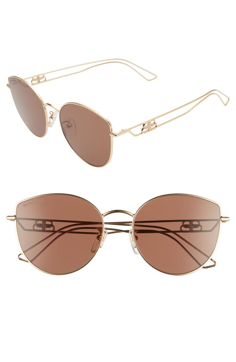 BALENCIAGA 57mm Cat Eye Sunglasses, Main, color, SHINY LIGHT GOLD/ BROWN
