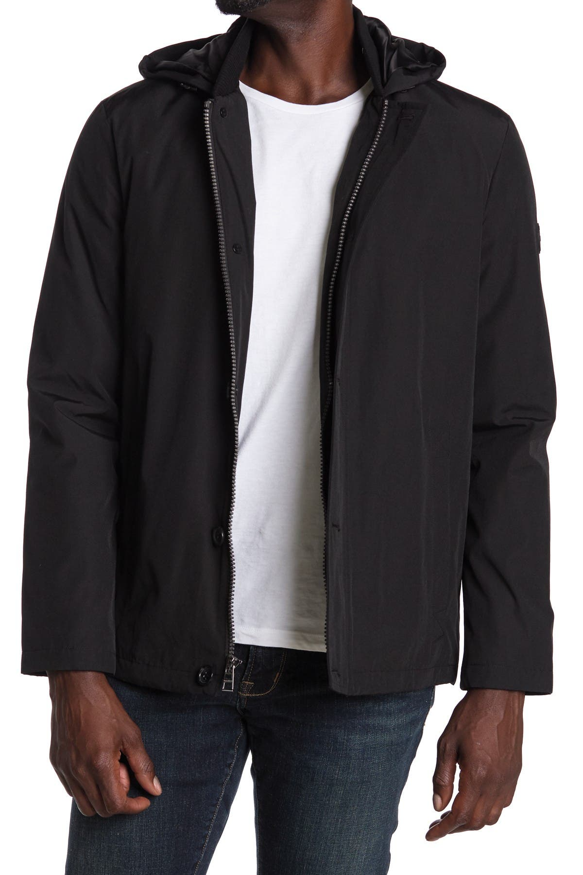 Image of Michael Kors Hooded Zip Front Jacket