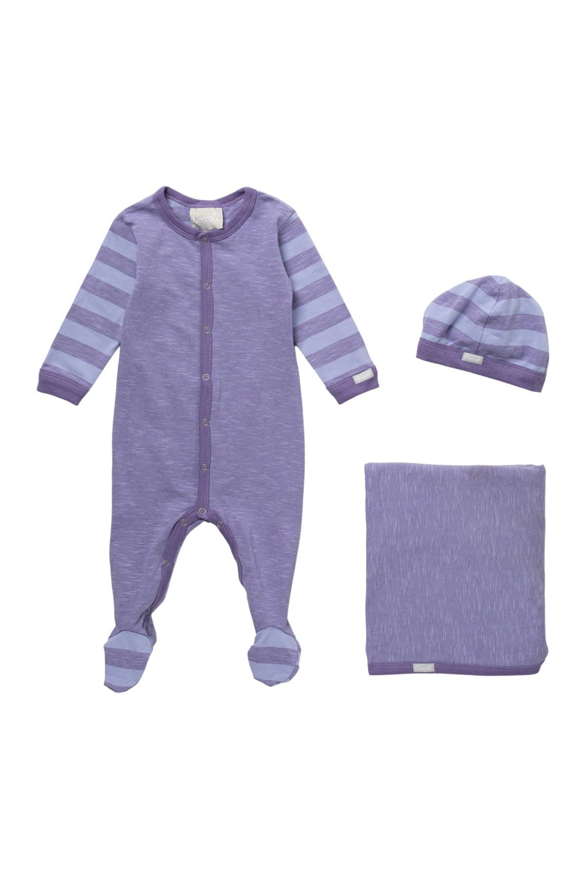 Image of Coccoli Cotton Footie, Cap & Blanket Set