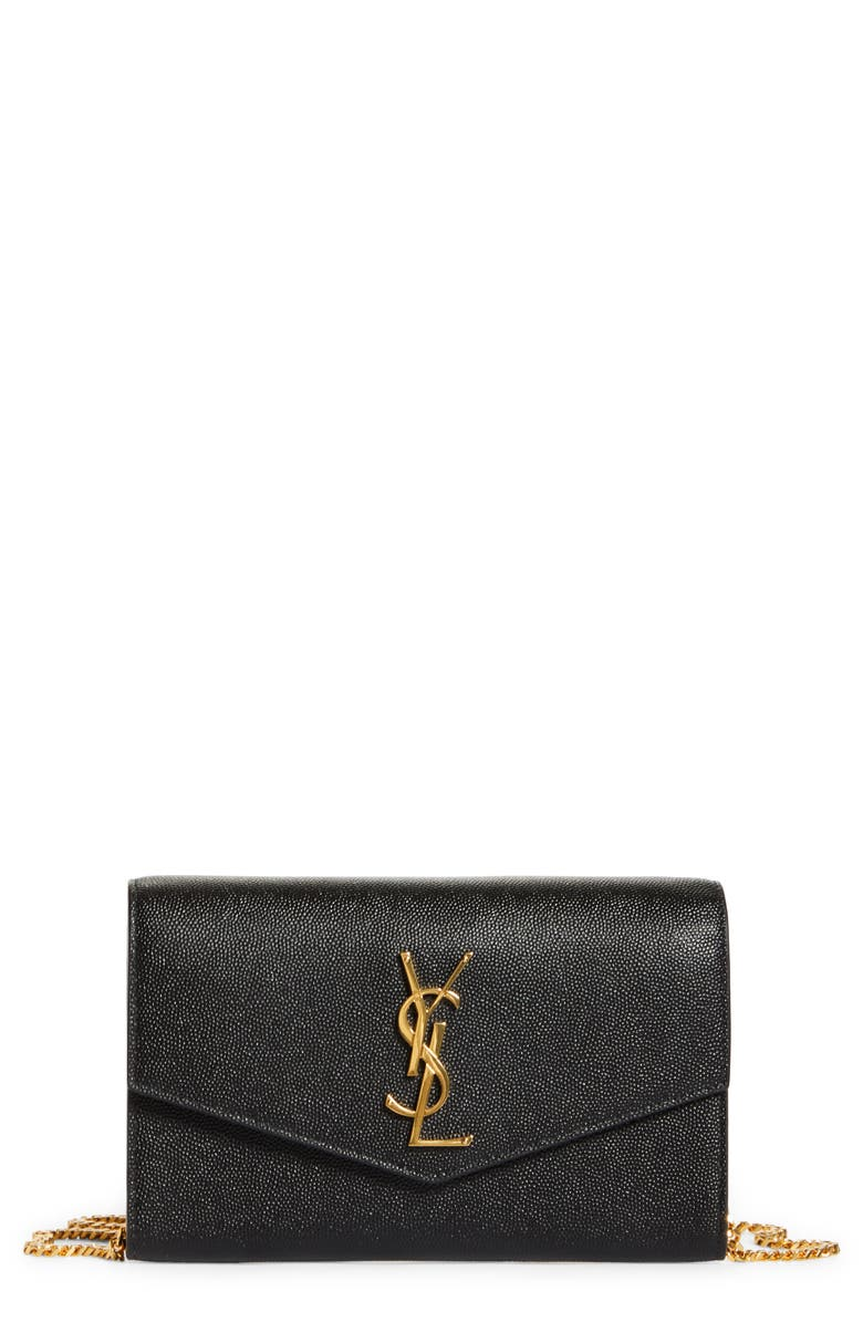 SAINT LAURENT Uptown Pebbled Calfskin Leather Wallet on a Chain, Main, color, NERO