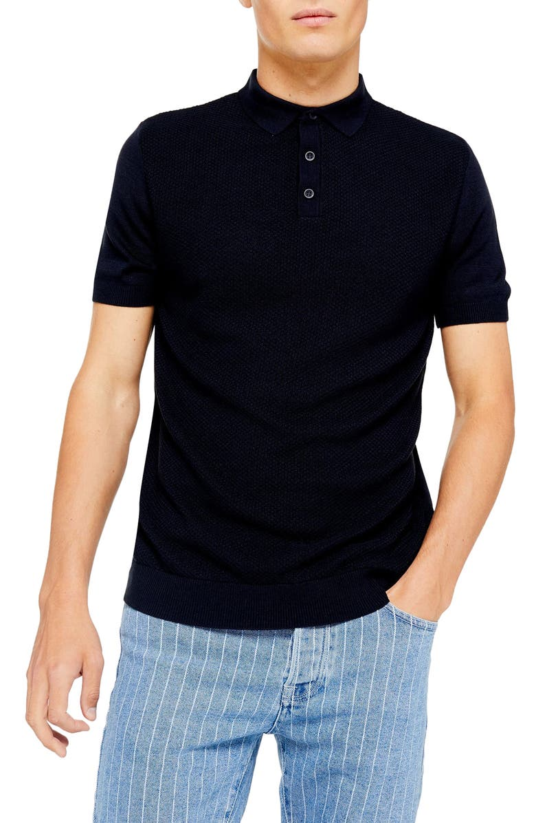 TOPMAN Classic Sweater Polo Shirt, Main, color, NAVY BLUE