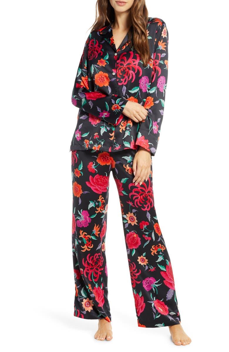 NATORI Duchess Satin Pajamas, Main, color, BLK BLACK