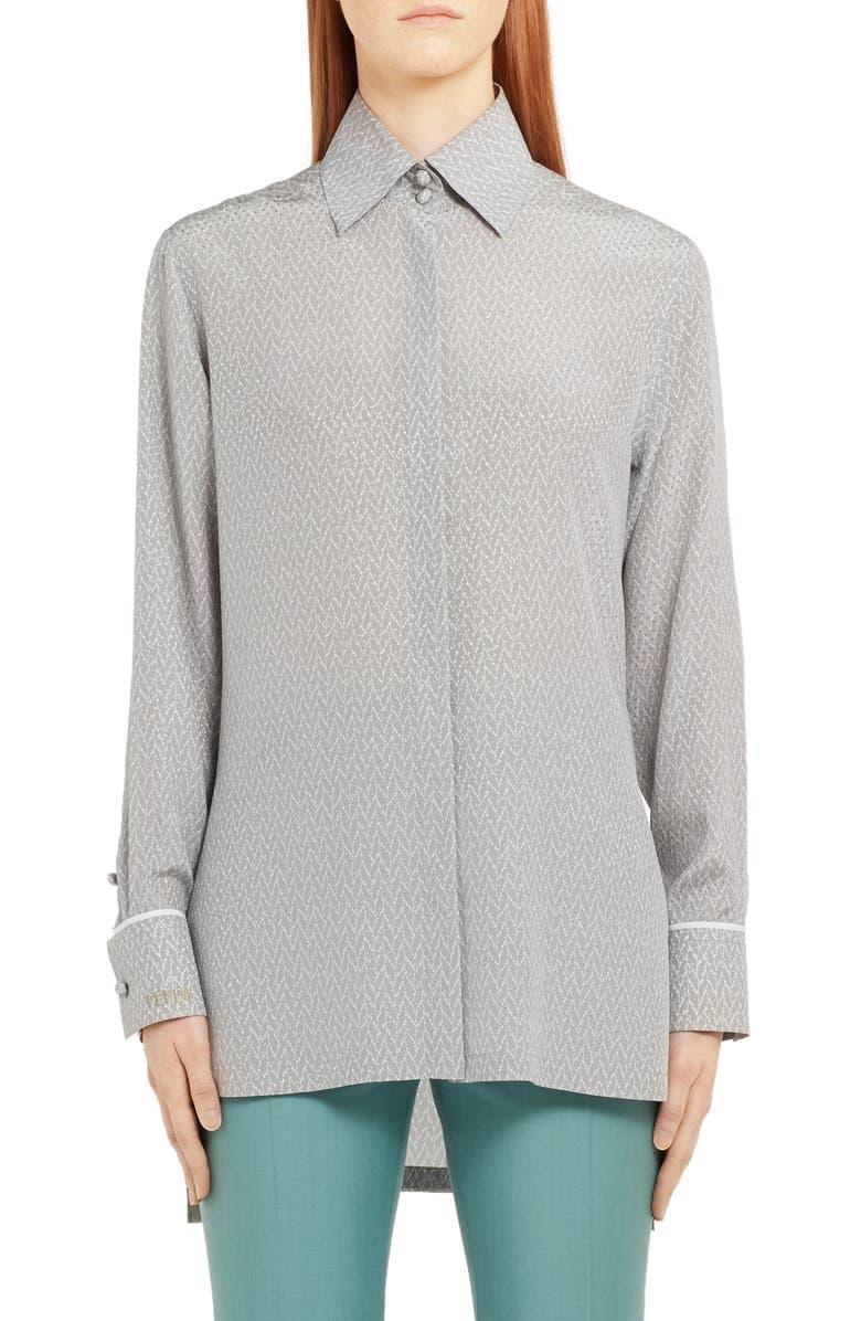 FENDI Embroidered Dot Longline Silk Blouse, Main, color, GREY