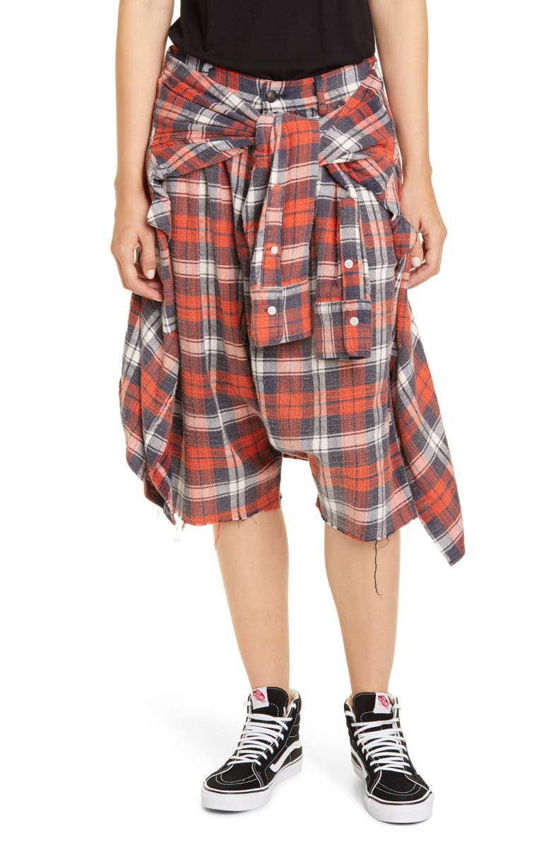 R13 Plaid Flannel Shorts, Main, color, RED/ BLUE PLAID