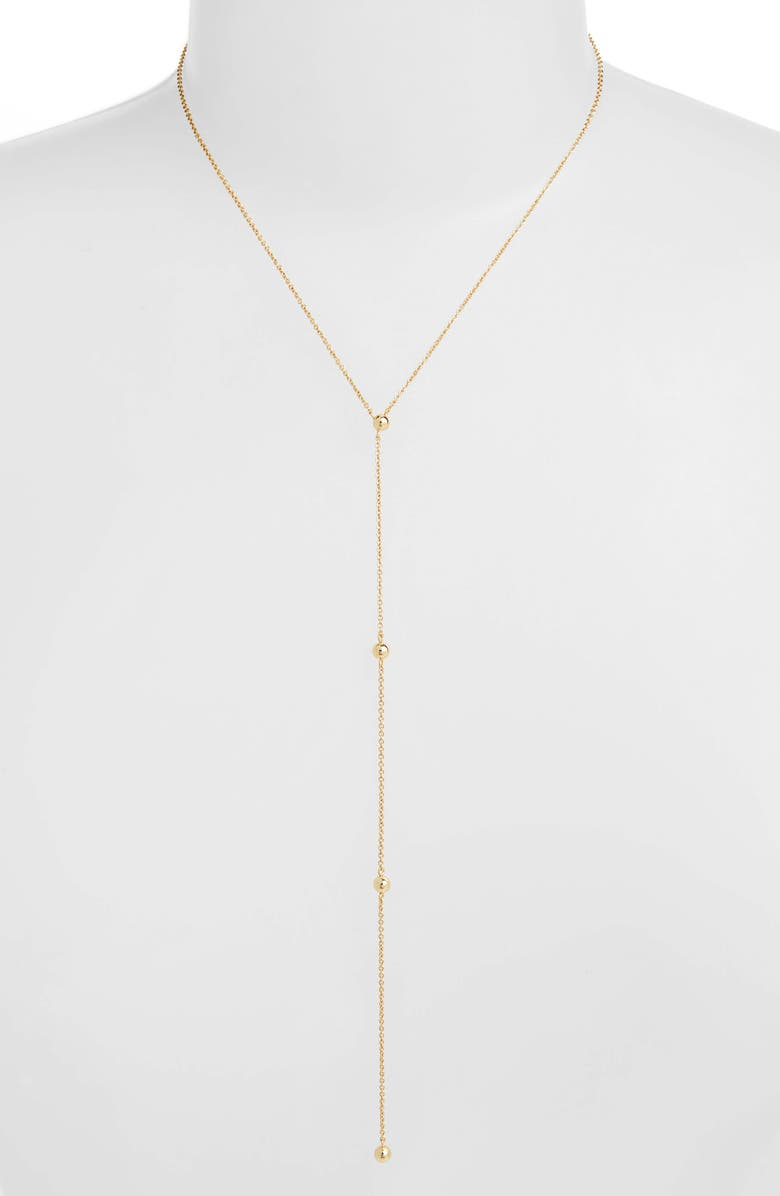 STERLING FOREVER Dainty Y-Necklace, Main, color, GOLD