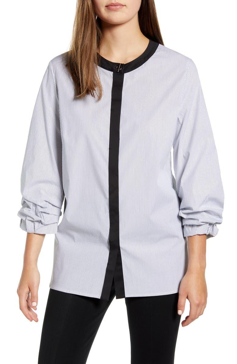 MING WANG Stripe Contrast Border Stretch Cotton Blouse, Main, color, WHITE/ BLACK