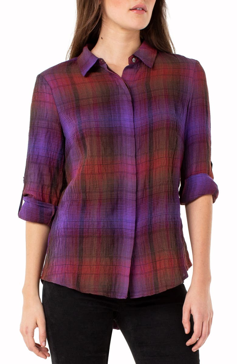 LIVERPOOL Plaid Button Back Crinkled Cotton Blouse, Main, color, RED/ PURPLE/ GREEN STRIPE