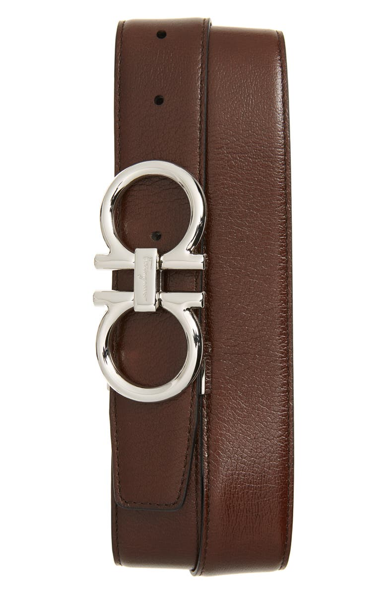 SALVATORE FERRAGAMO Double Gancio Reversible Calfskin Leather Belt, Main, color, NEW BROWN/ LEAD GREY