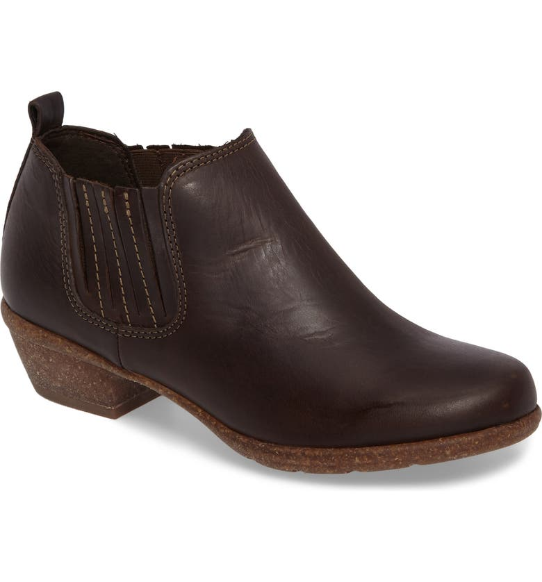 CLARKS<SUP>®</SUP> Wilrose Jade Low Chelsea Bootie, Main, color, BROWN NUBUCK LEATHER