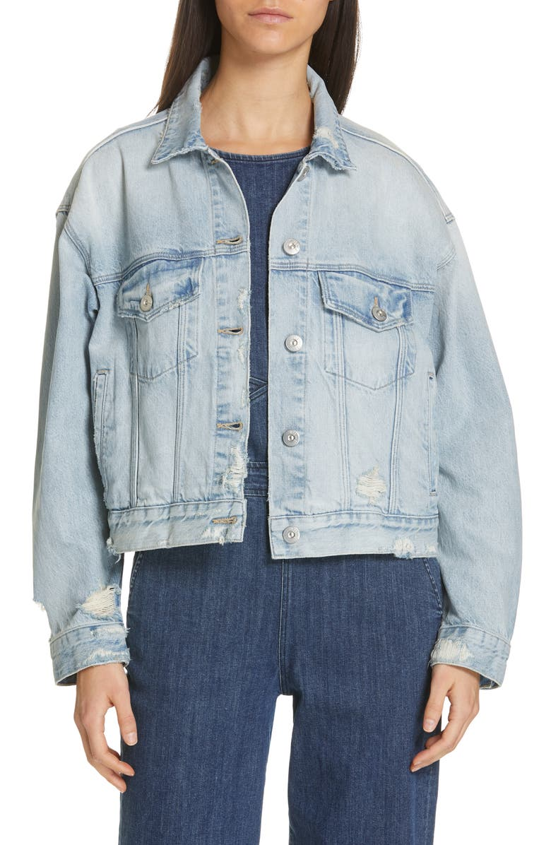 3X1 NYC Oversize Distressed Denim Trucker Jacket, Main, color, FARROW