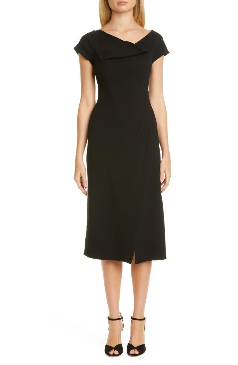 OSCAR DE LA RENTA Drape Neck Dress, Main, color, BLACK