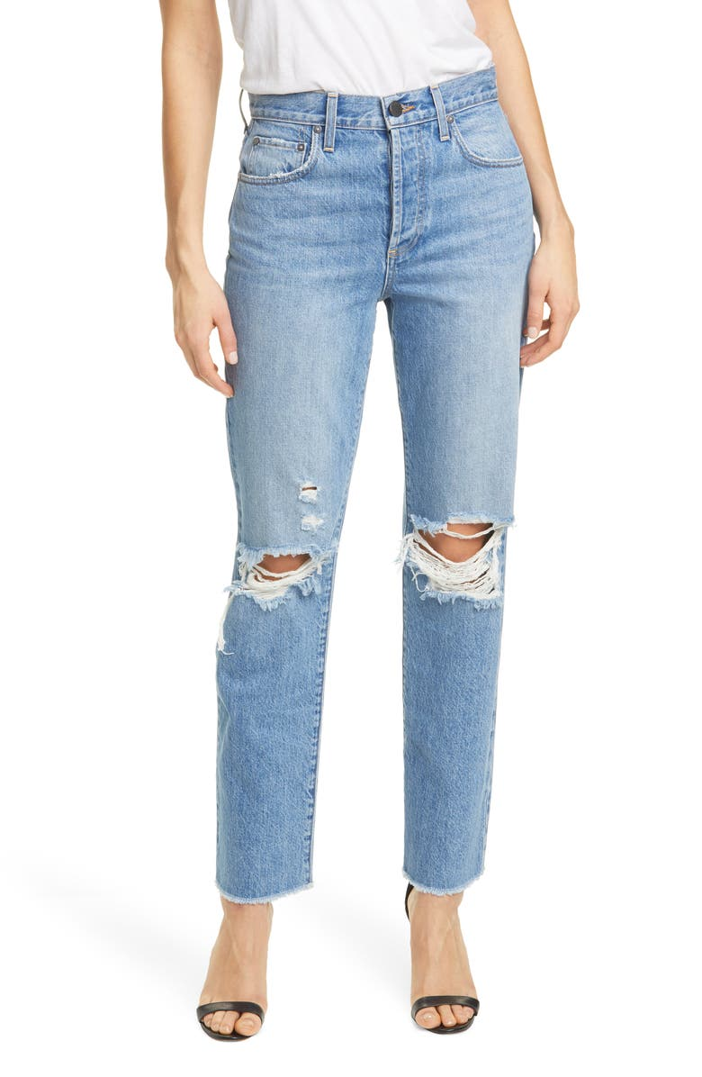 ALICE + OLIVIA Amazing High Waist Ripped Boyfriend Nonstretch Cotton Jeans, Main, color, NOT YOURS