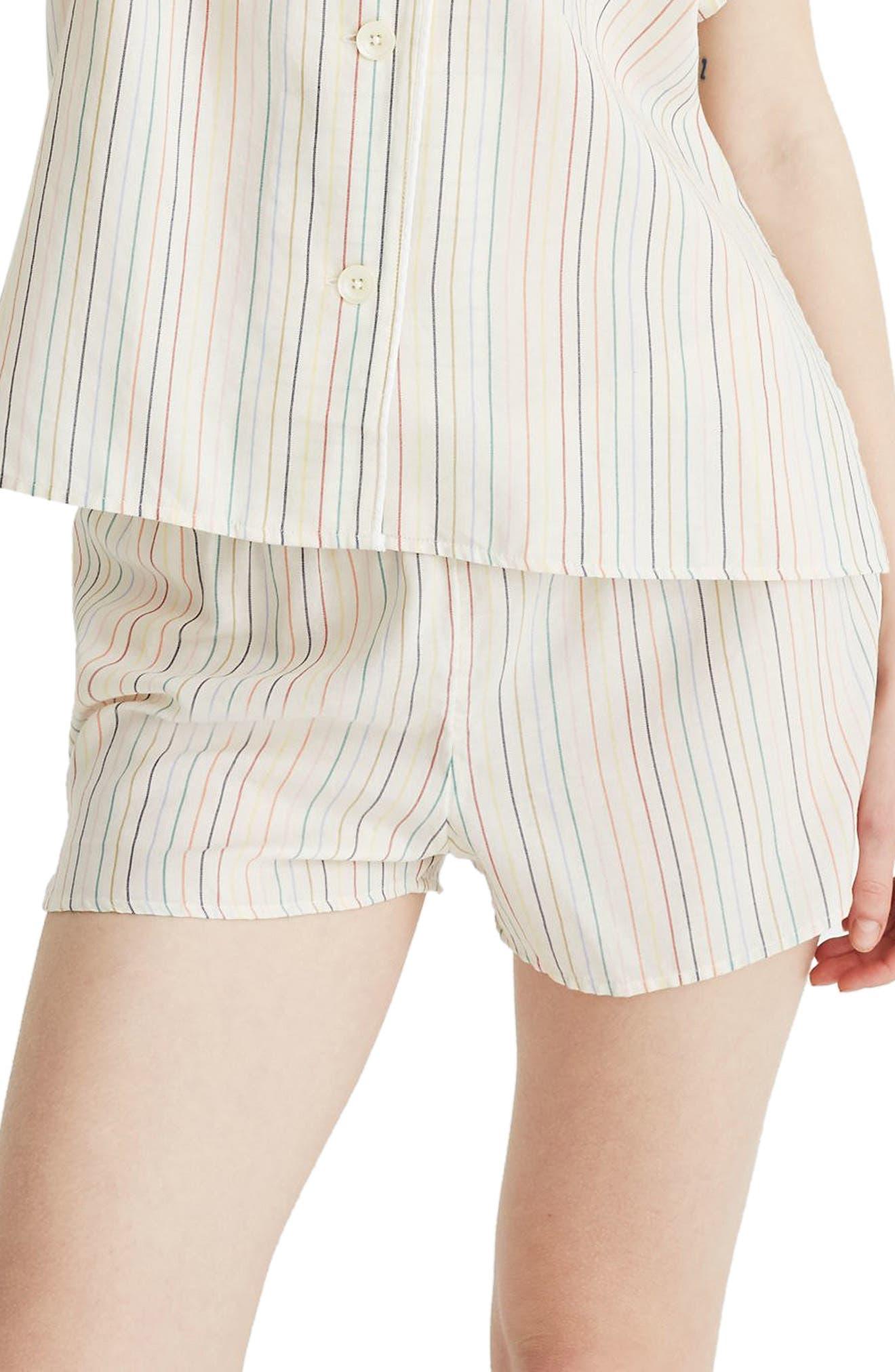 Plus Size Madewell Rainbow Stripe Bedtime Pajama Shorts, Ivory