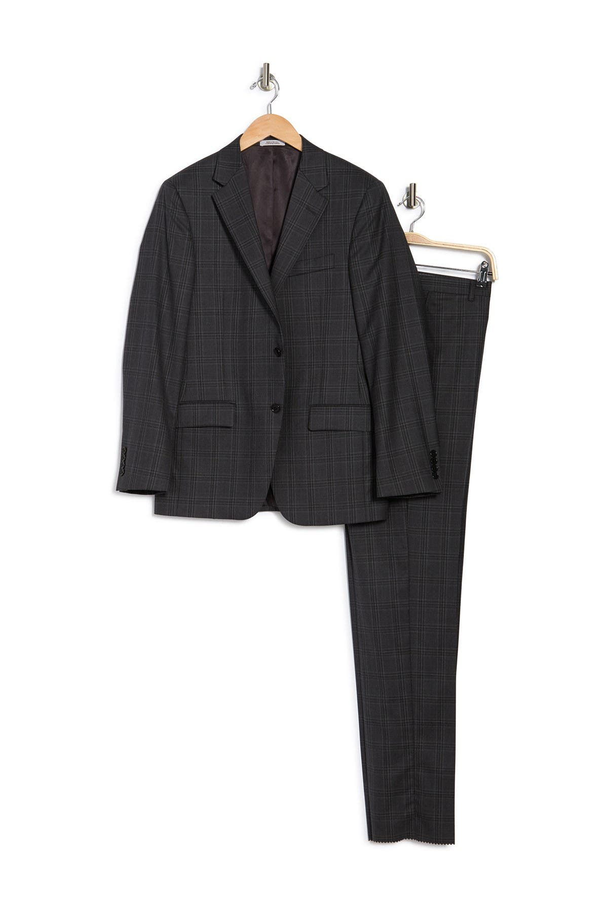 Image of Hickey Freeman Grey Plaid Two Button Notch Lapel Regular Fit Suit