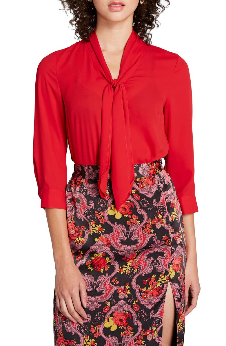MODCLOTH Three-Quarter Sleeve Tie Neck Top, Main, color, RED