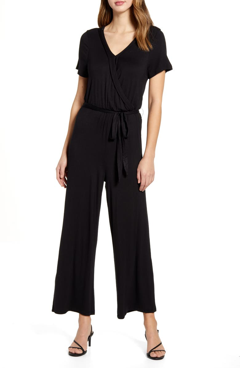 BOBEAU Wrap Front Short Sleeve Jumpsuit, Main, color, 001