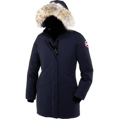 Canada Goose Victoria Down Parka With Genuine Coyote Fur Trim, Blue
