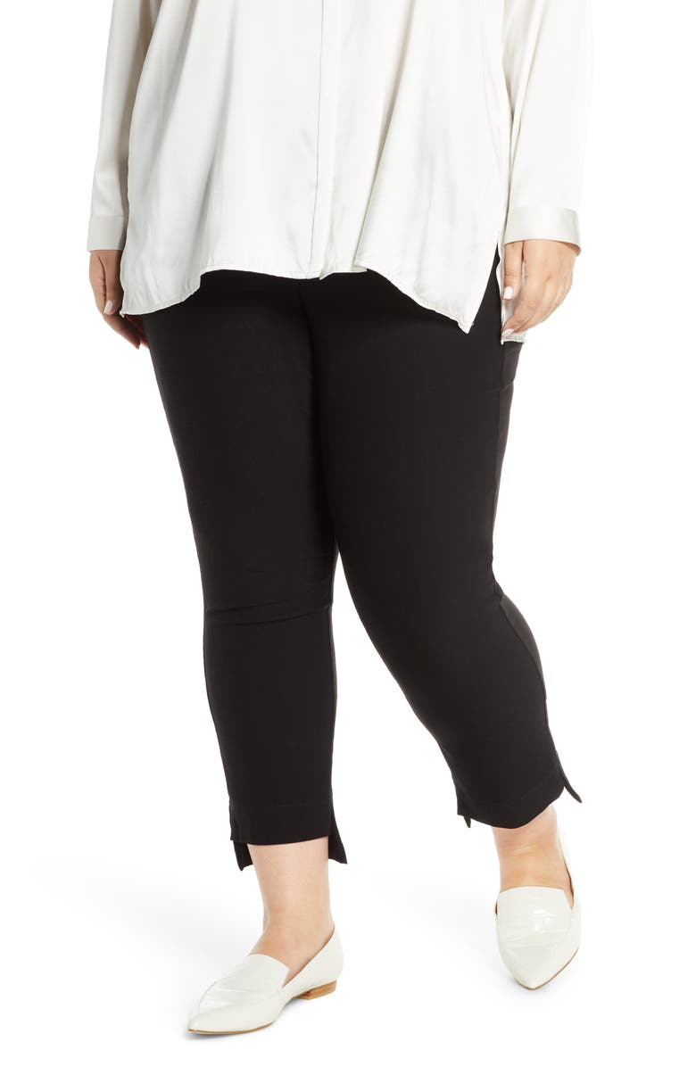 EILEEN FISHER Slim Step Hem Ankle Pants, Main, color, BLACK
