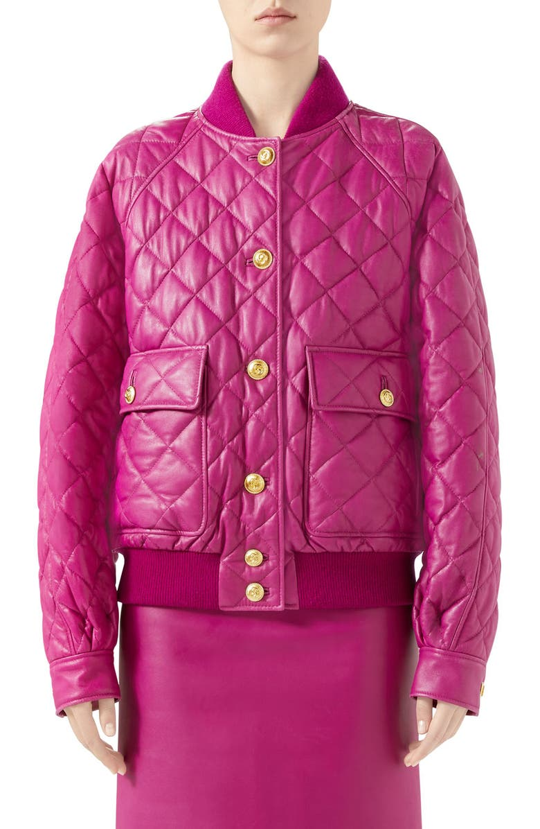 GUCCI Quilted Leather Bomber Jacket, Main, color, BLUEBERRY EXTRACT
