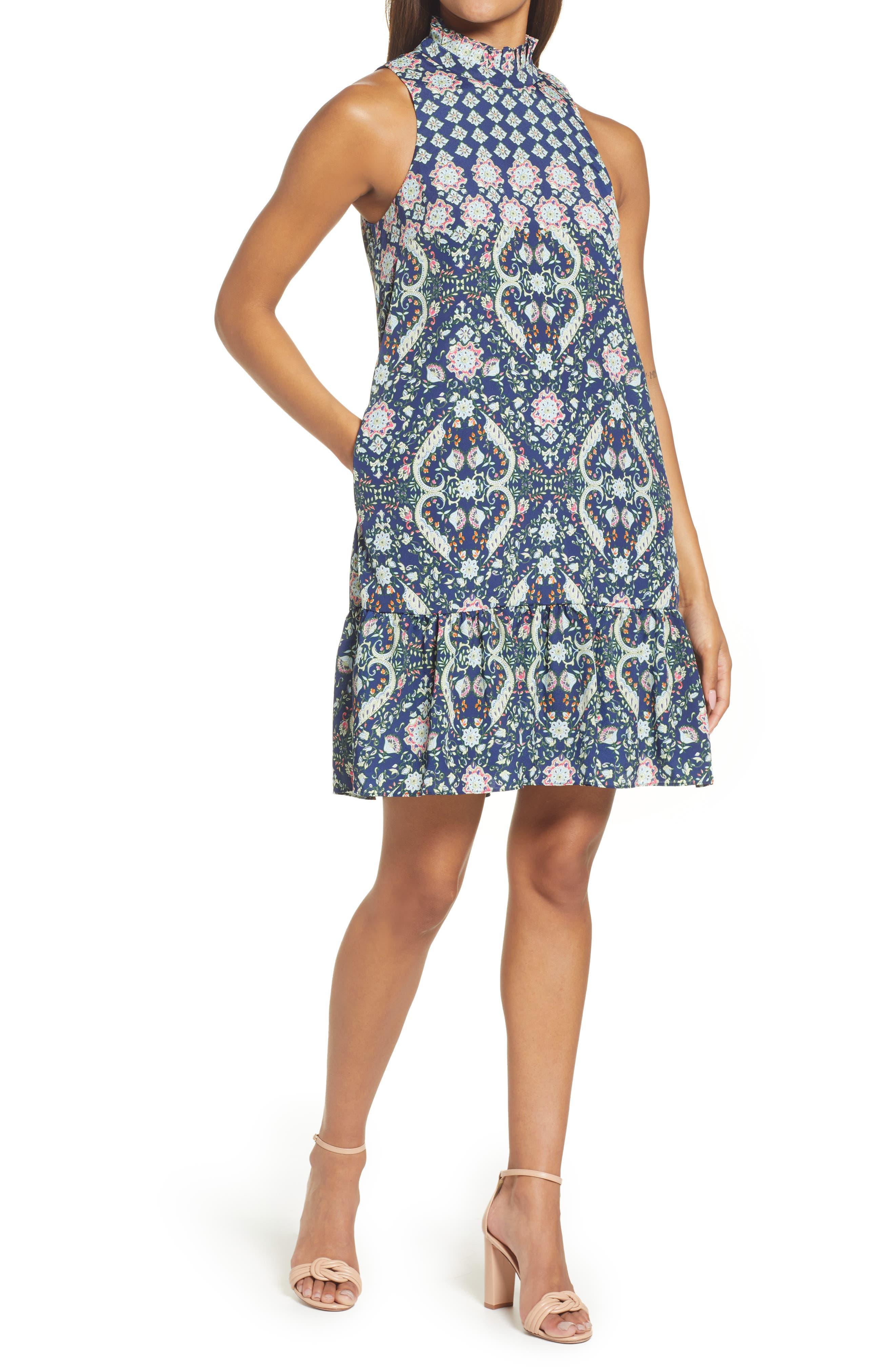 Mix Print Ruffle Hem Dress