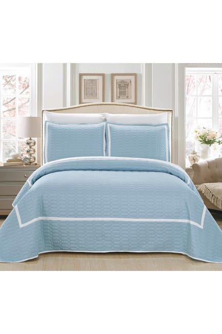 Image of Chic Home Bedding Queen Halrowe Hotel Collection Geometric Quilt Set - Blue
