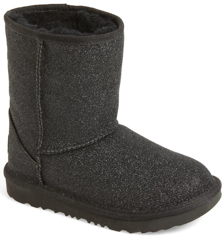 UGG<SUP>®</SUP> Classic Short II Glitter Boot, Main, color, BLACK
