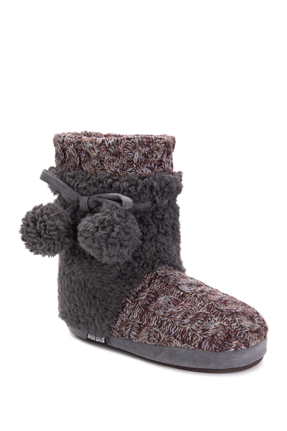 Image of MUK LUKS Delanie Faux Fur Pompom Knit Boot Slipper