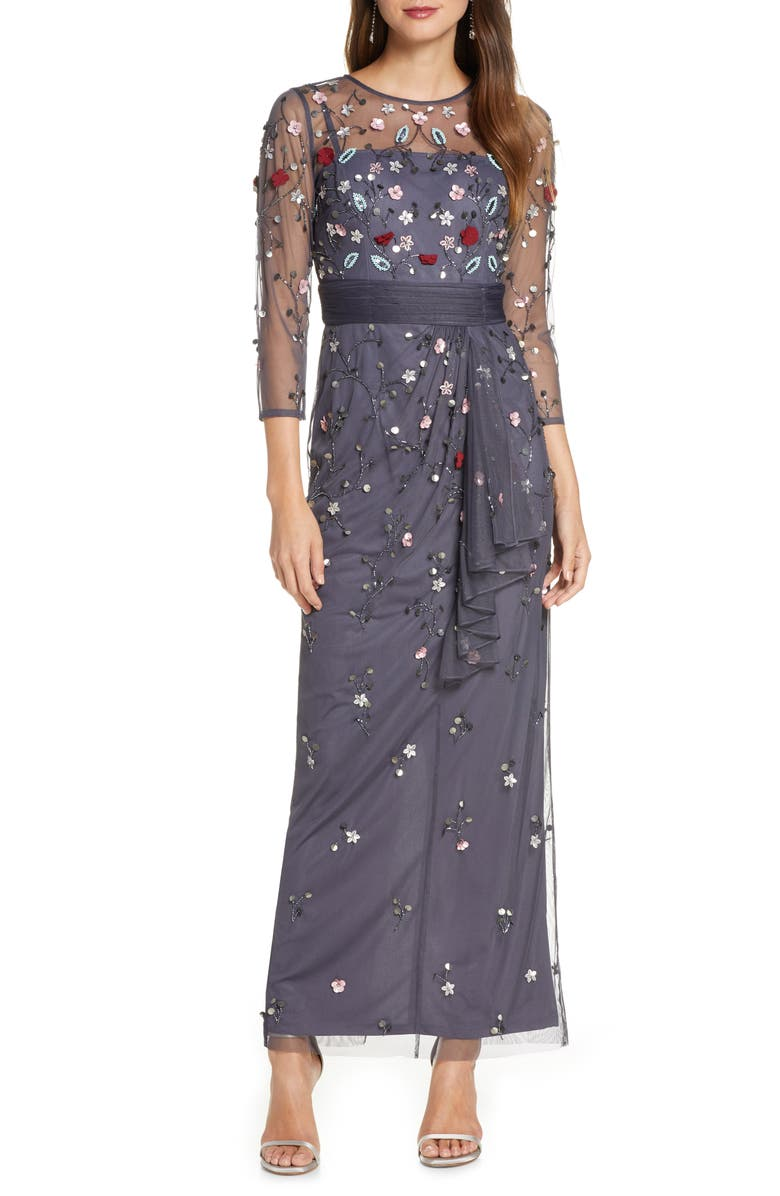 JS COLLECTIONS Floral 3D Embellished Gown, Main, color, CHARCOAL MULTI