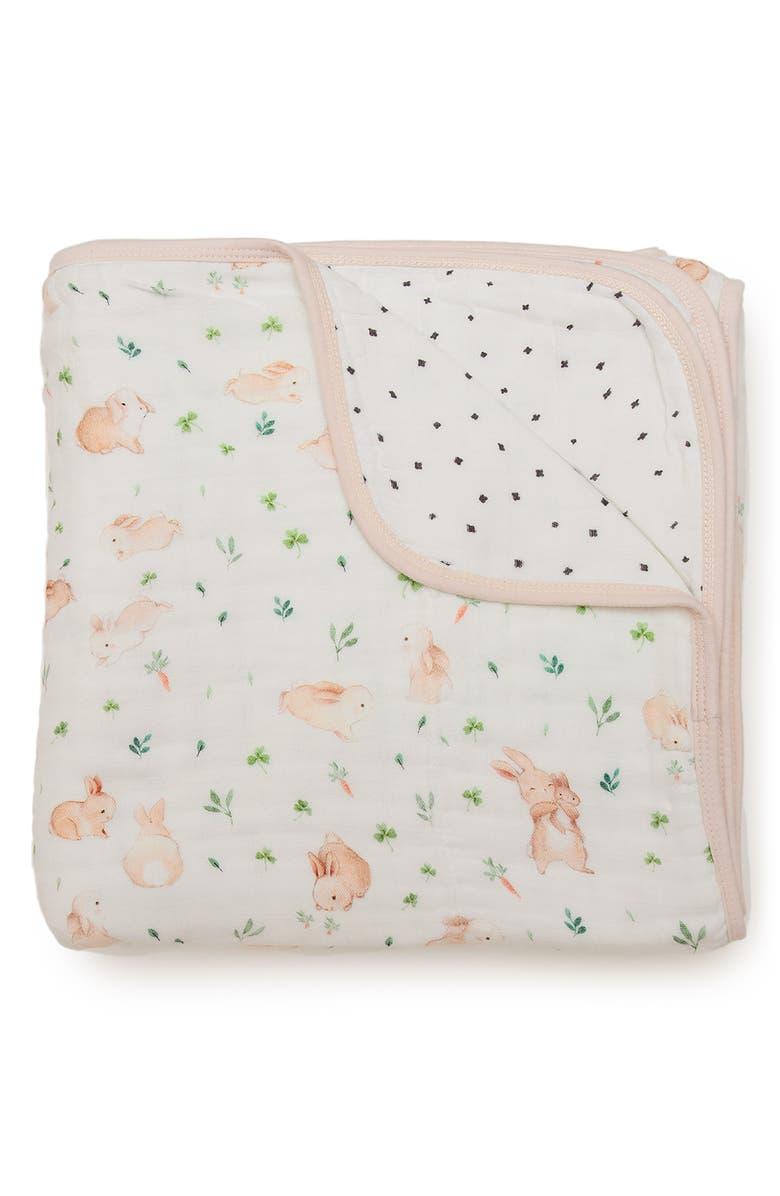 LOULOU LOLLIPOP Bunny Meadow Deluxe Muslin Quilt, Main, color, BUNNY MEADOW