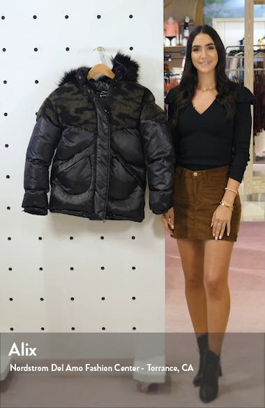 Faux Shearling Puffer Jacket with Faux Fur Trim, sales video thumbnail