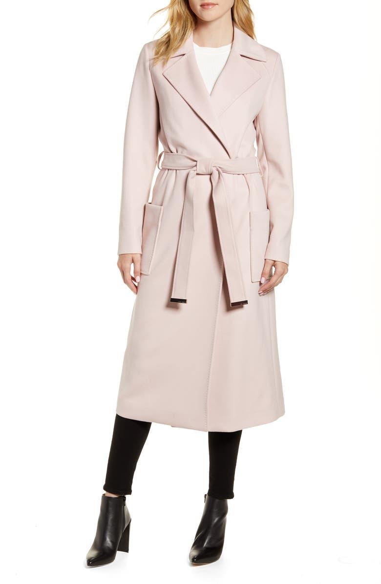 TED BAKER LONDON Joseete Wide Lapel Long Wrap Coat, Main, color, DUSKY PINK