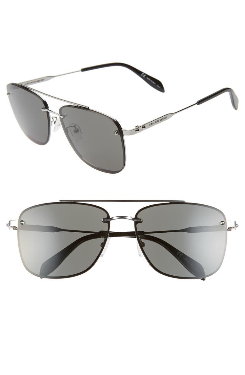 ALEXANDER MCQUEEN 62mm Oversize Navigator Sunglasses, Main, color, LIGHT RUTHENIUM