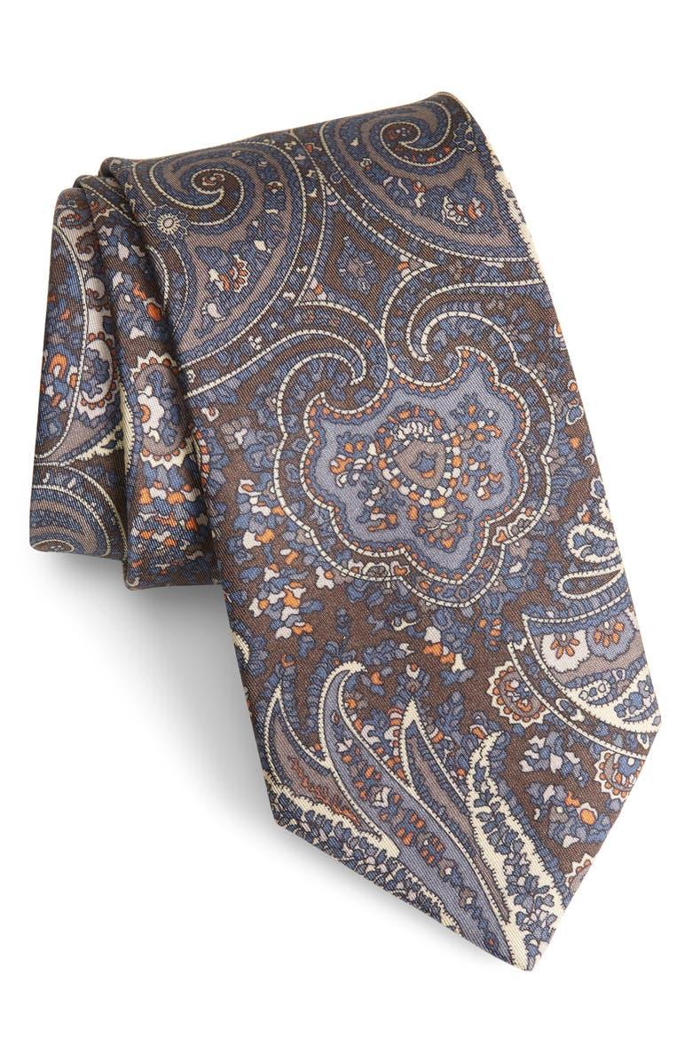 BRIONI Paisley Silk Tie, Main, color, BROWN