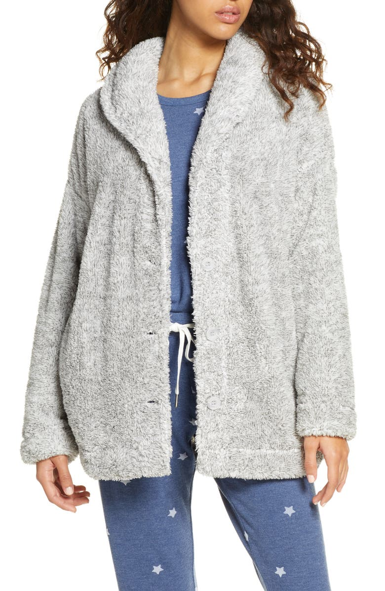 PJ SALVAGE Cozy Cardigan, Main, color, HEATHER GREY