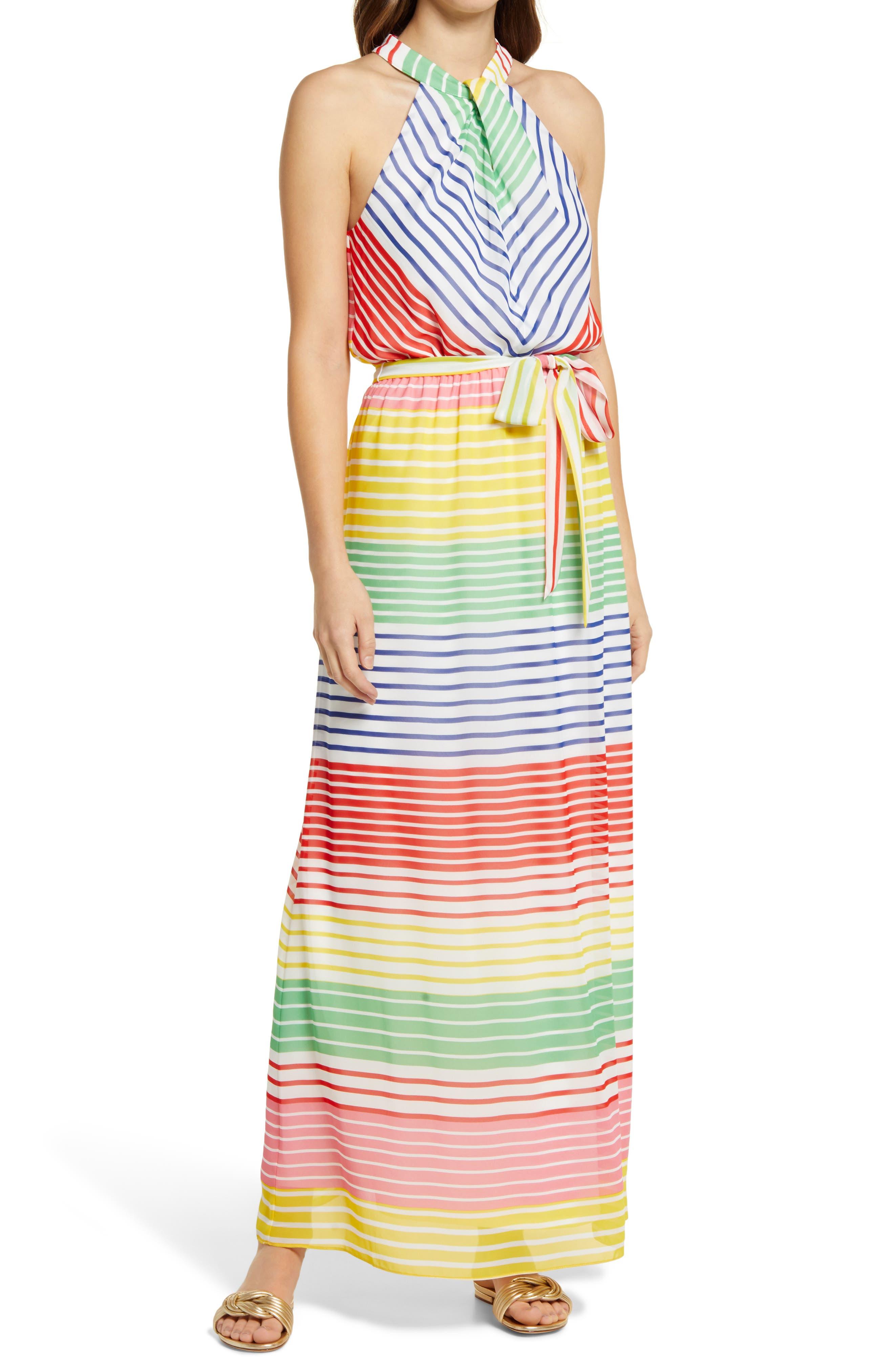 Stripe Halter Neck Maxi Dress