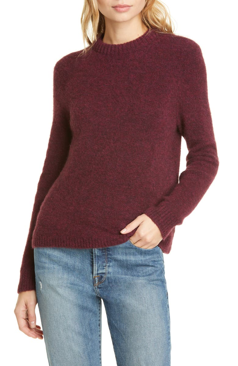 JENNI KAYNE Puffy Crewneck Sweater, Main, color, WINE