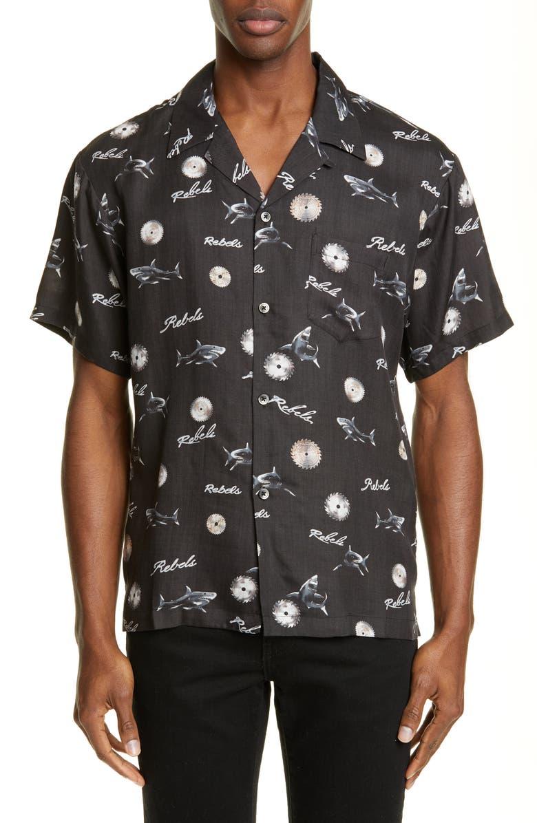 JOHN ELLIOTT East LA Bowling Shirt, Main, color, SAWBLADE BLACK