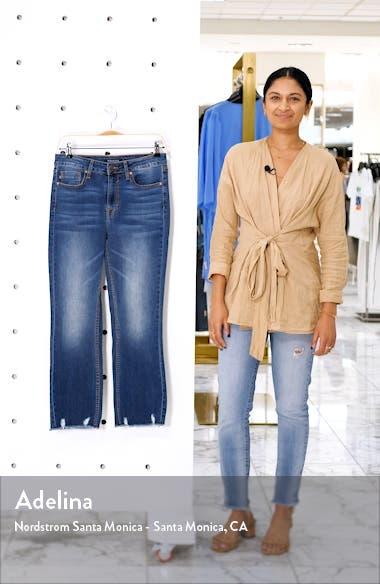 Gwen Distressed Hem Crop Flare Jeans, sales video thumbnail