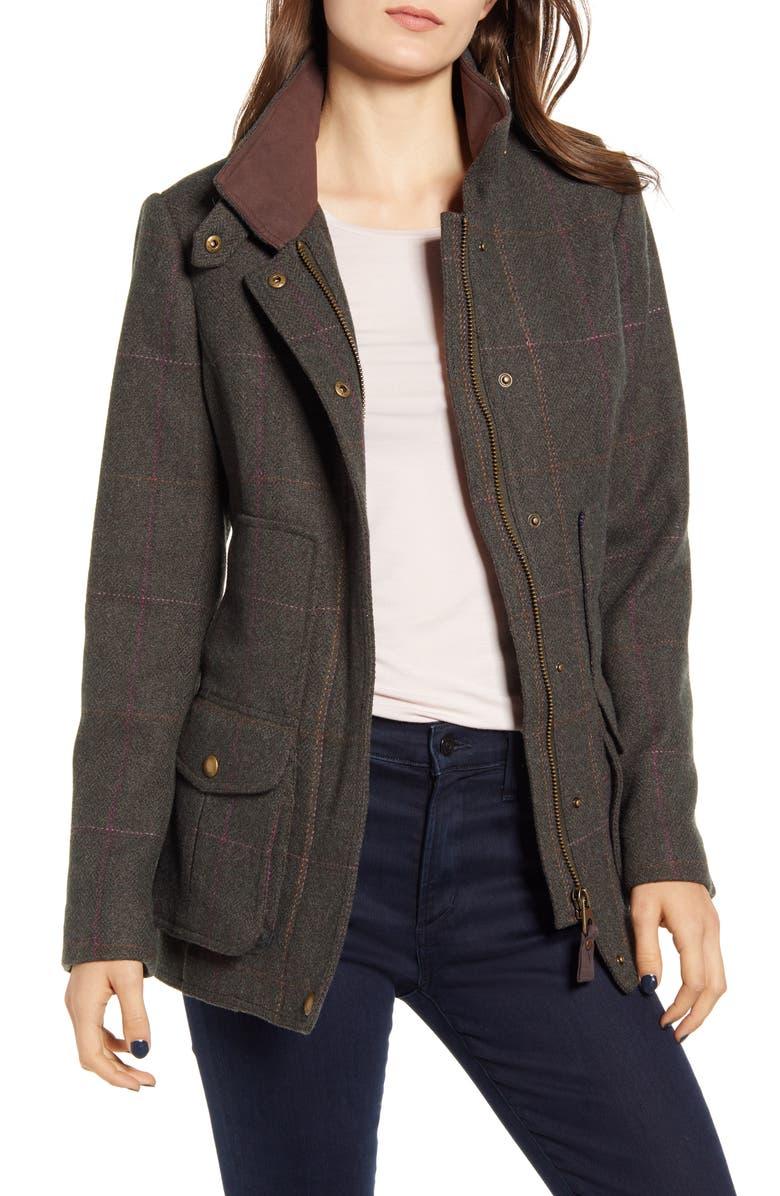 JOULES Wool Blend Tweed Field Coat, Main, color, DARK GREEN TWEED
